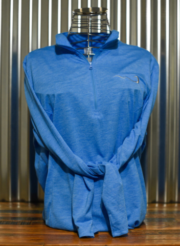 Blue Ladies Quarter Zip – embroidered front and back. Front view