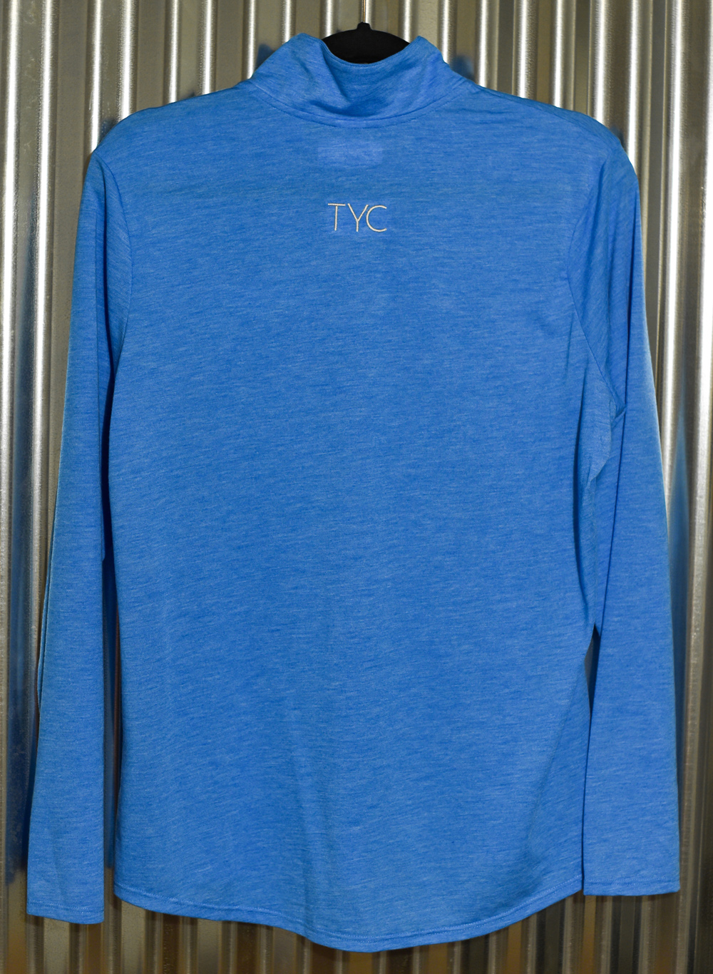 Blue Ladies Quarter Zip – embroidered front and back. Back view