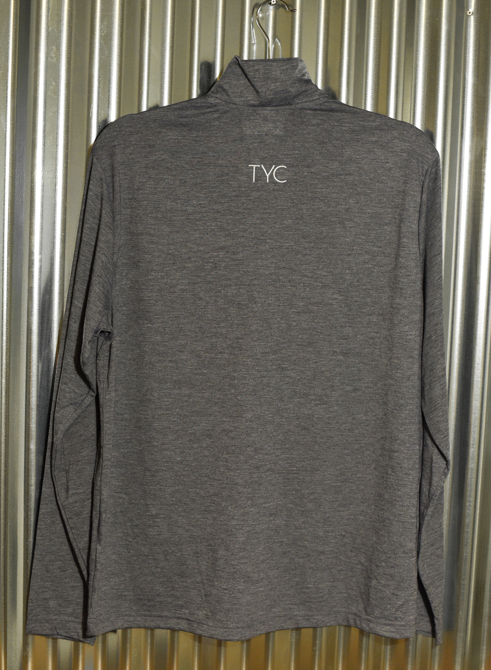 Gray Men's Quarter Zip back embroidered front and back. Back view