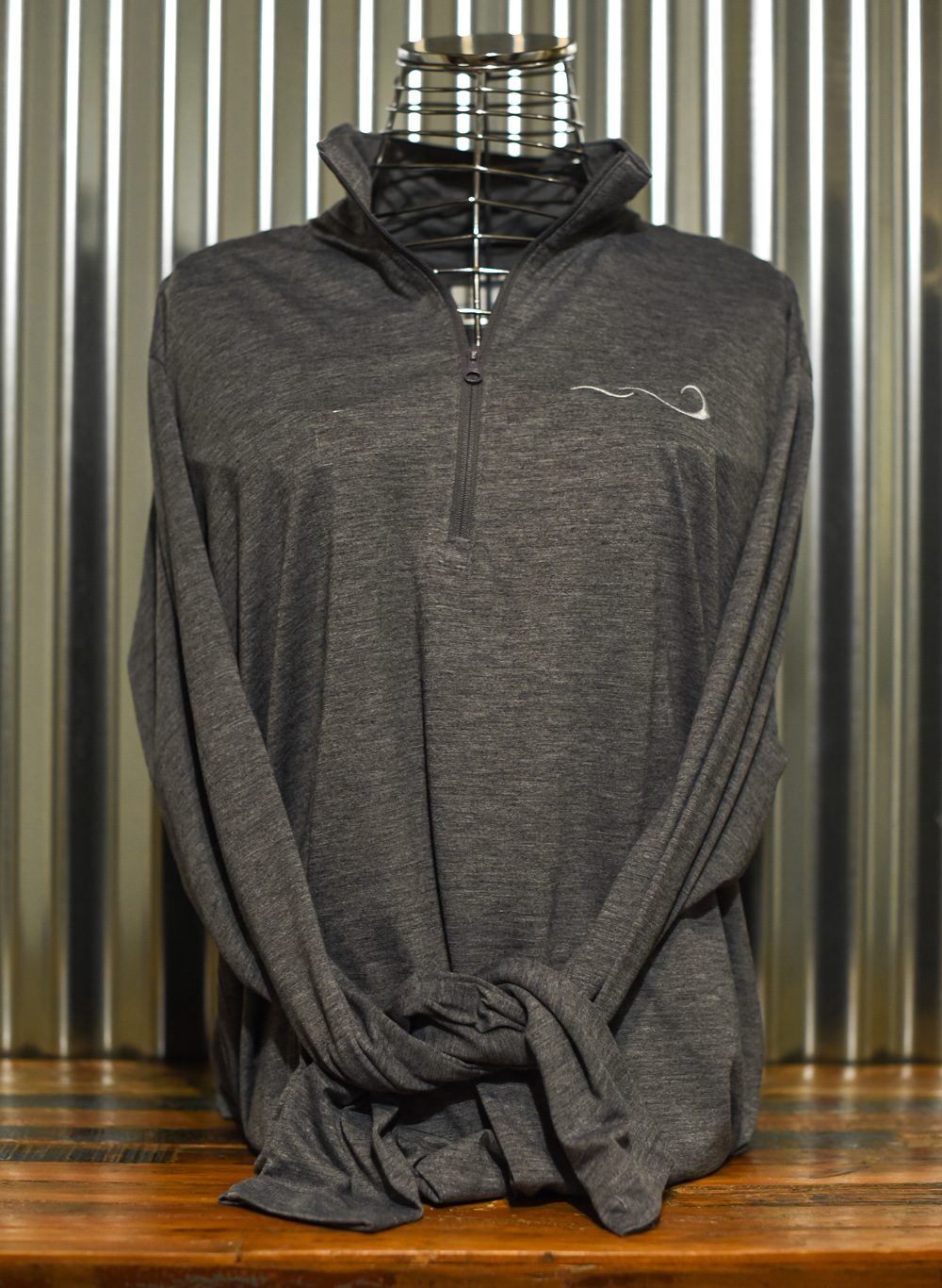 Gray Men's Quarter Zip back embroidered front and back. Front view