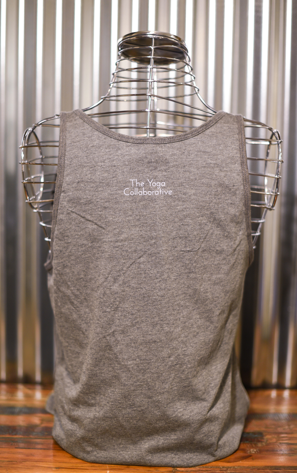 Loose fitting tank, screen printed front and back. Back view