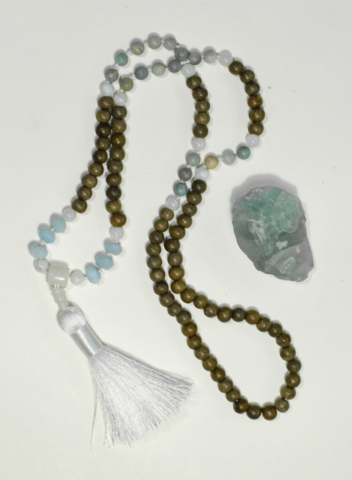 Mala Amonzonite + Wood   5th Vishuddha Chakra (Throat)  handcrafted by Melissa