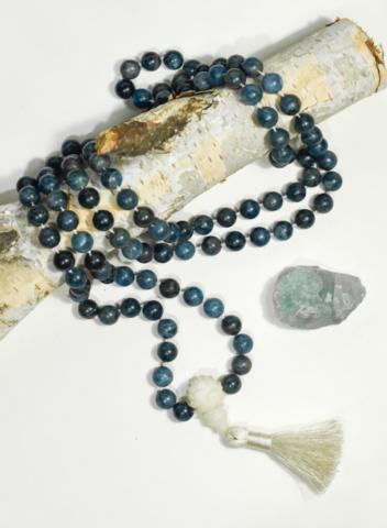 Mala Blue Apatite – motivation – creativity 5th Vishuddha + 6th Ajna Chakra's (Throat and Third Eye) handcrafted by Melissa